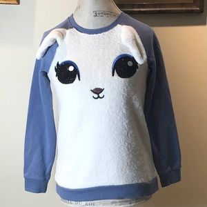 Justice Rabbit Blue & White Sweatshirt Sz 14/16